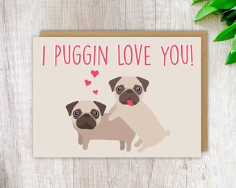 Cute Card Funny Love Pug Rude Birthday Blank Greeting For Girlfriend Her Gift