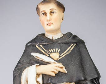 "St Thomas Aquinas | Saint of Aquino | Polychromed Plaster Statue | Vintage RARE Religious Figurine | 16"" Large"