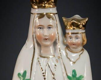 Beautiful Madonna w Child Porcelain Statue Our Lady de Bonsecours Vintage ND