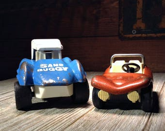 Tonka Fun Buggy & Topper Sand Buggy, 2 Vintage Dune Buggy Toys, Tiny Tonka Truck 500 and Topper Toys Zoomer Boomer 7200 Pressed Steel Cars