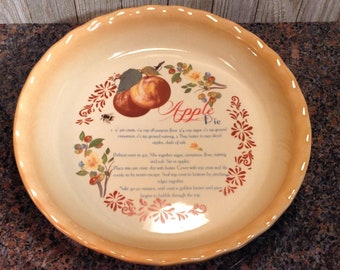 "Apple Pie Recipe Plate, Nantucket 10"" Apple Pie Recipe Dish, Collectible Stoneware Deep Dish Pie Pan, Vintage Ceramic Pie Plate Recipe Decor"