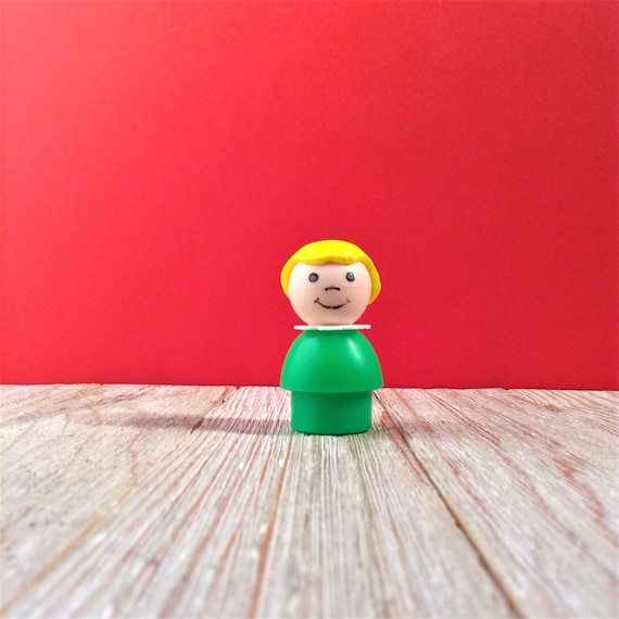 Fisher Price Little People Vintage Wood Face /& Body Blonde Girl Red