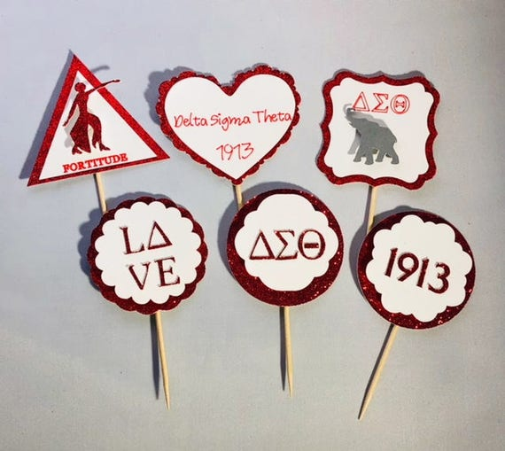 Delta Sigma Theta Cupcake Topperssorority Cupcake Toppers Etsy