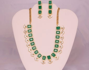 Designer Necklace with CZ Emerald stones