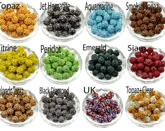 6mm 8mm 8mm 10mm 12mm Pave Clay Disco Ball Beads Gumball Acrylic Beads Light Topaz Crystal Rhinestone Round Beads Chunky Bubble Gum Beads