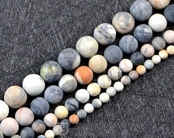 Picasso Jasper Beads 4mm 6mm 8mm 10mm12mm Smooth and Round Stone Beads-15 inches one strand