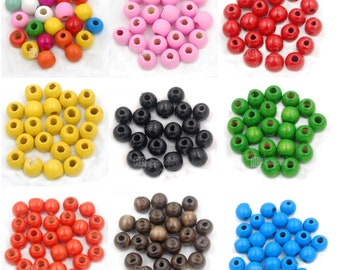 300pcs Natural color Wooden Spacer Beads Kids Toy crafts Making Necklace 11mm