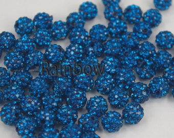 Chunky Bubble Gum Beads 6mm 8mm 8mm 10mm 12mm Pave Clay Disco Ball Beads Jet Black Crystal Rhinestone Round Beads Gumball Acrylic Beads