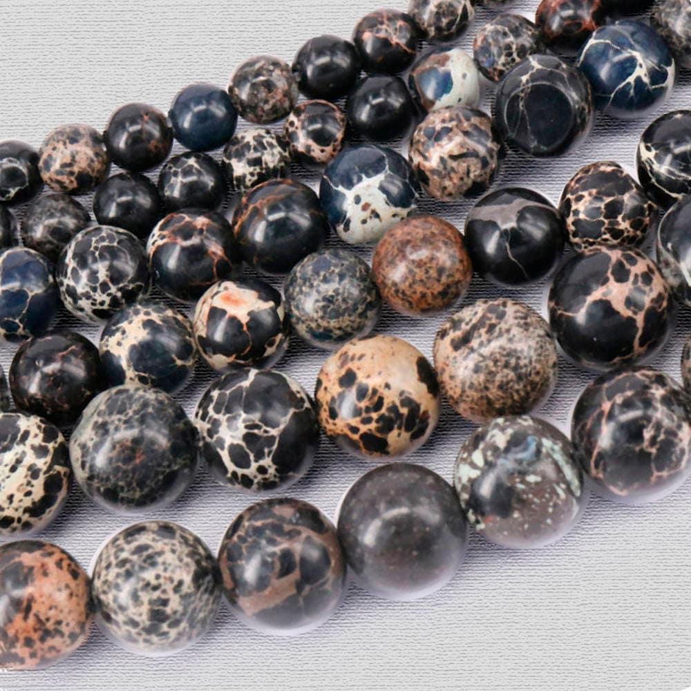 Blue Gemstone Spacer Beads 1 Full Strand 6mm 8mm 10mm Natural Sea Sediment Jasper Beads Imperial Impression Jasper Beads PA-428