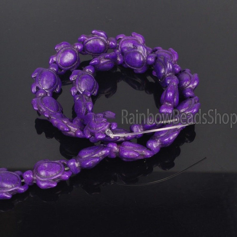 Purple Howlite Turquoise Carved Turtle Gemstone beads 14x17mm Jewelry Beading Natural Stone beads 16/'/' strand