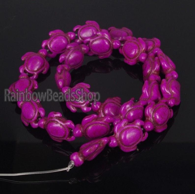 14x17mm Jewelry Beading Natural Stone beads 16/'/' strand Fuchsia Howlite Turquoise Carved Turtle Gemstone beads