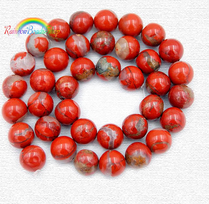 10 PERLE RONDE PIERRE NATURELLE JASPE ROUGE 15 mm NATURAL STONE BEADS RED JASPER