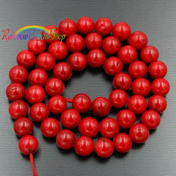 200 Assorted Sizes 4mm 6mm 8mm 10mm Glass Pearl Beads Red Coral