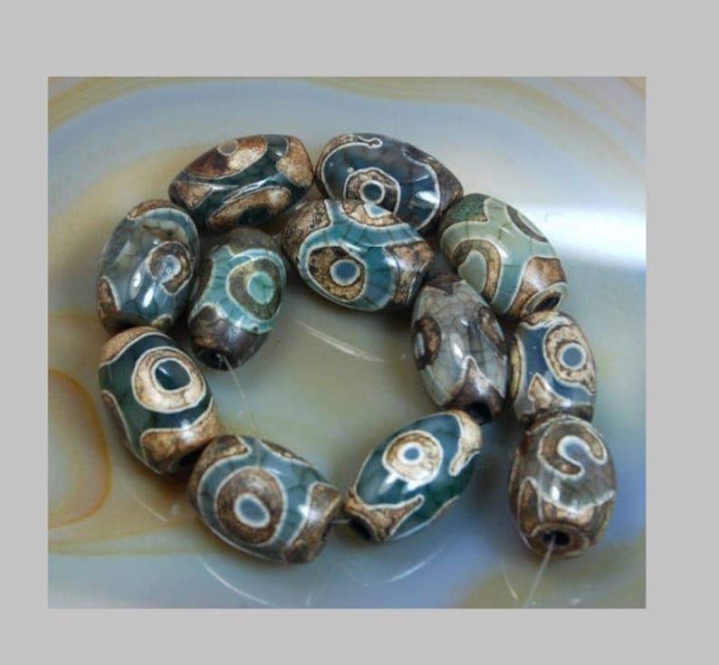 8 x 12 mm 10 x 14 mm 12 x 16 mm Stone Jewelry Gemstone Beads Jewelry making Brown Dzi Tibetan Oval Agate beads Mystical Old Beading