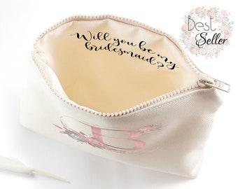 Bridesmaid proposal gift Will you be my bridesmaid gift Asking bridesmaid gifts Personalized bridesmaid make up bag Maid of honor makeup bag