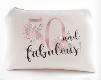 50th Birthday Gift For Women Fiftieth Gifts Fifty And Fabulous Makeup Bag 50