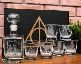 Personalized whiskey glasses set, Harry Potter gift, Harry Potter Whiskey Decanter Set, Whiskey Glasses, Personalized Whiskey,Whiskey