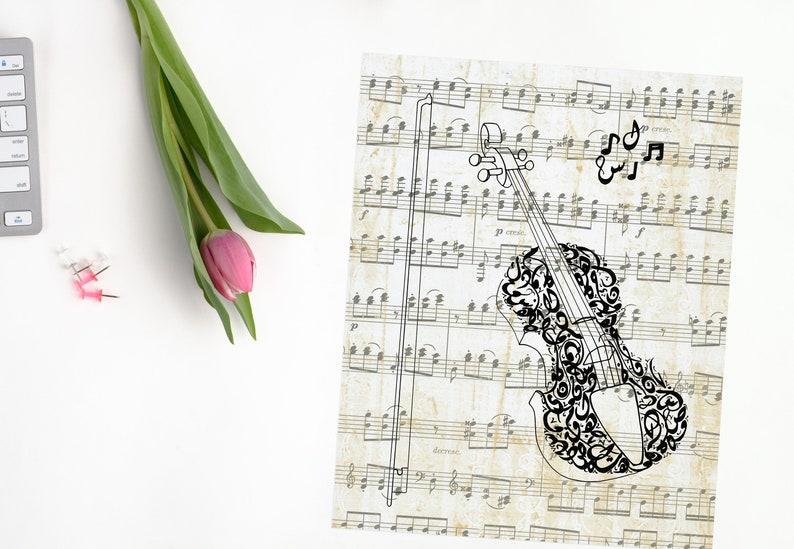 Violin / Arabic Calligraphy / Sheet Music Art Print / Modern Arabic  Art/Vintage Music Notes / Home decor/ Wall Art/ Instant Digital Download