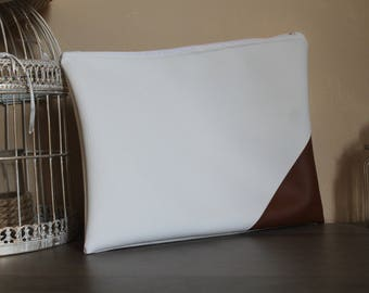 White faux leather clutch / bag 26x22cm / bag