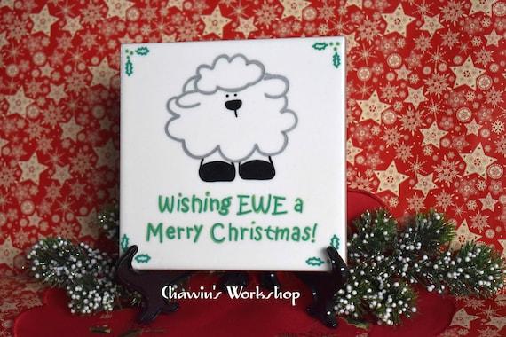 Merry Christmas Puns.Wishing Ewe A Merry Christmas Funny Christmas Barware Drinkware Shipping Discount Christmas Pun Secret Santa Gift Christmas Song Pun