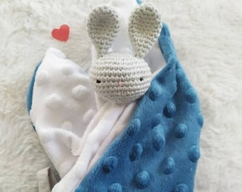 made to order Flat blankie white rabbit and flowers liberty\u00ae in organic cotton handmade gift birth plush rabbit