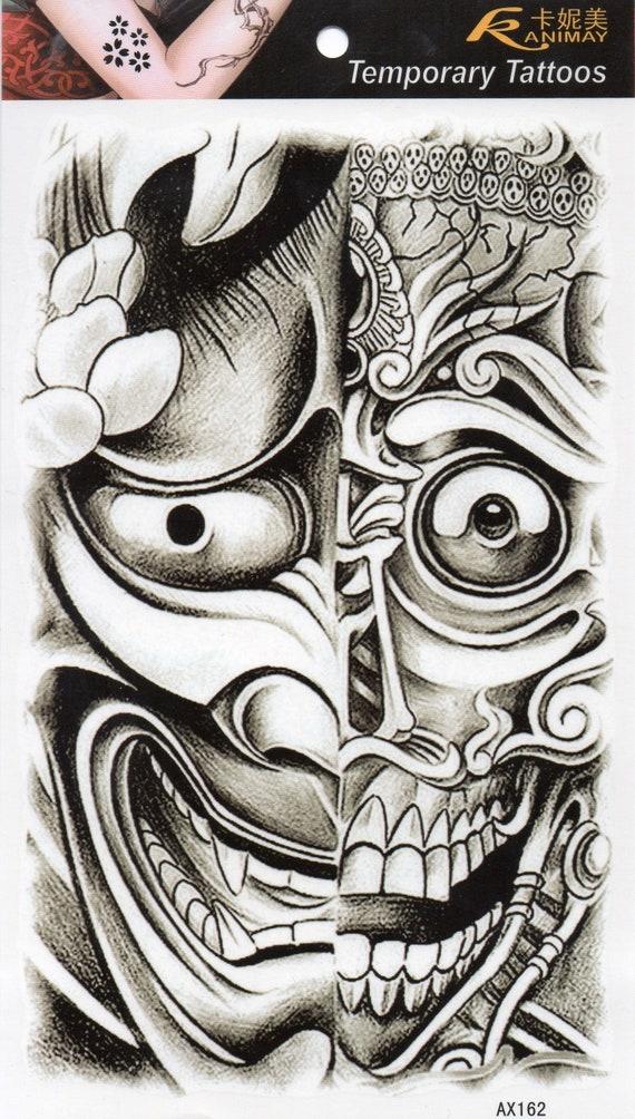 Devil Demon Bogie Robot Skull Temporary Tattoo Fake Tattoo Etsy