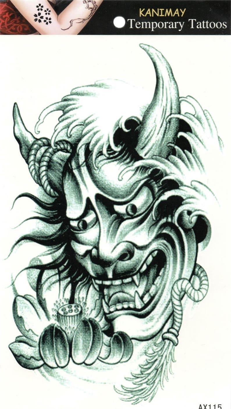Devil Demon Bogy Skull Horn Flower Temporary Tattoo Fake Etsy