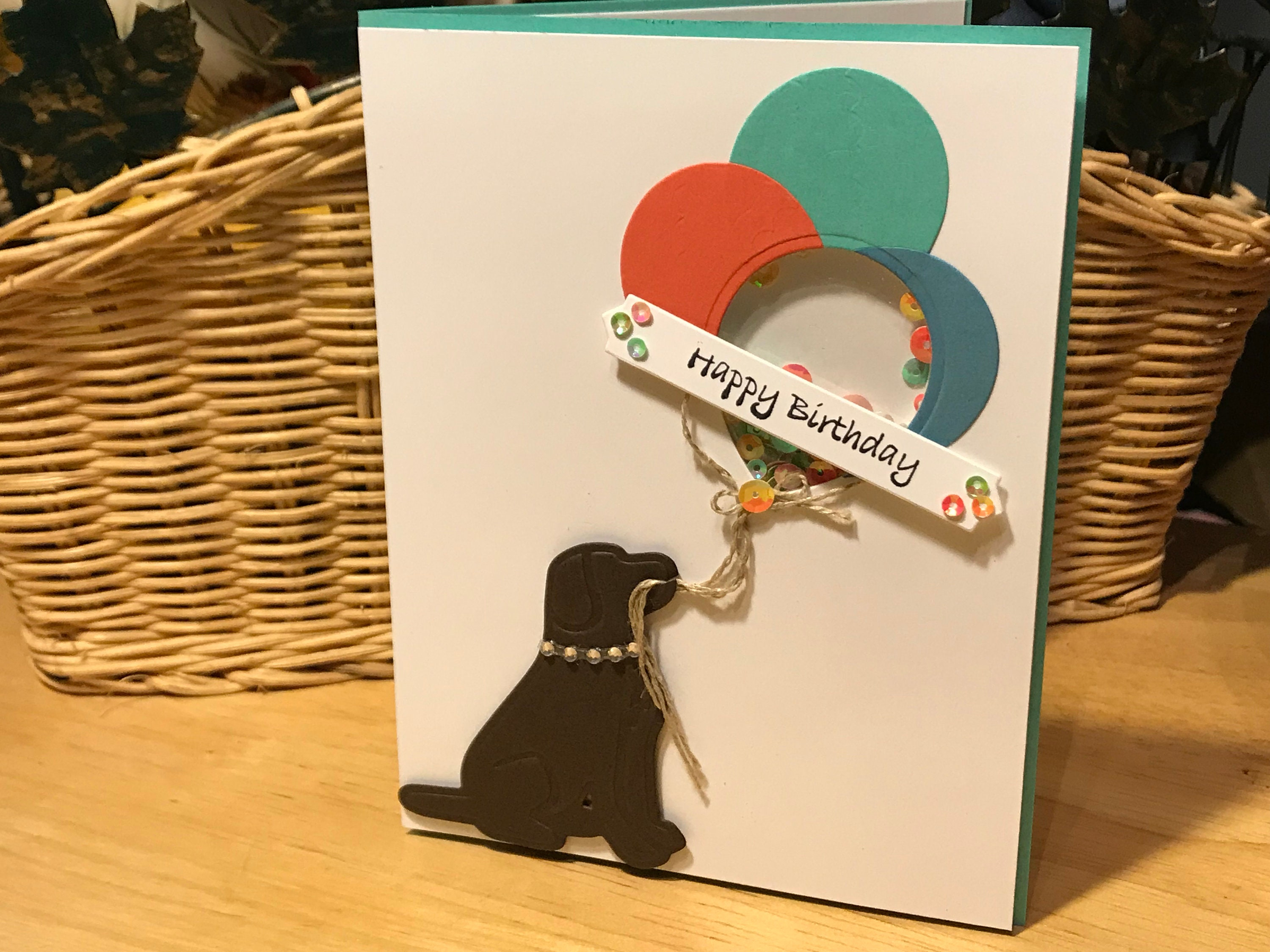 Dog Themed Birthday Card Shaker And