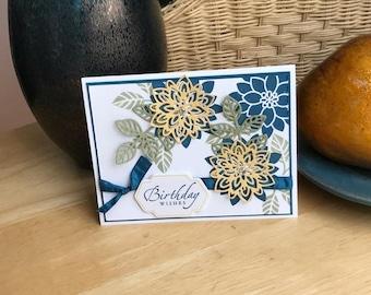 Birthday Card, Die cut floral birthday card, Happy Birthday Card