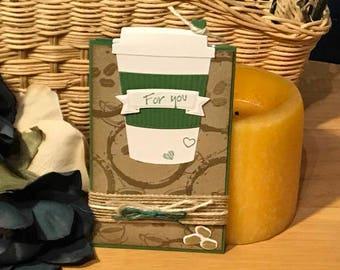 Gift card holder, coffee themed gift card holder, Starbuck's gift card holder