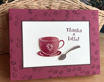 Thank you card set, thanks a latte set of 5 cards