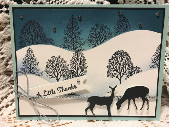 Winter trees and deer thank you card Deer winter theme thank you card Deer thank you card Winter thank you card