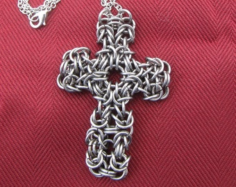 Chainmaille Steel Cross Pendant