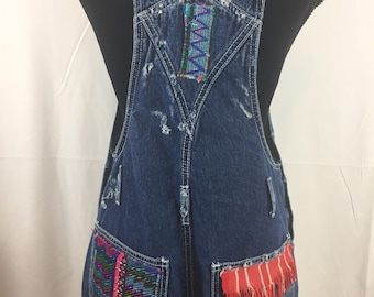 fc7a2ee8333 Denim Overalls   woven Huipil Patches   Med Wash Denim  Women  Juniors Size  Small to Med