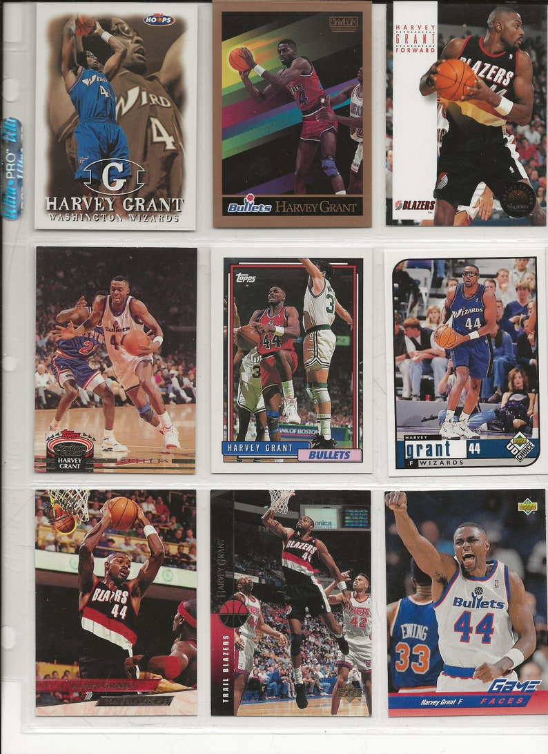 Lot of Basketball Cards of Player Harvey Grant