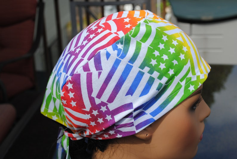 Chemo Cap Colorful Stars and Stripes Doctor Nurse Surgical Scrub Cap Skull Cap Tie Back 100/% Pre washed Cotton Head Cover
