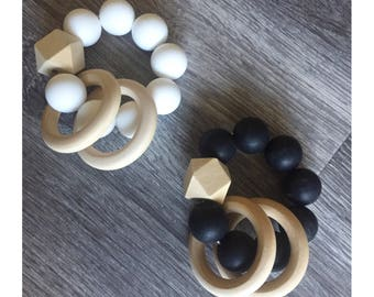 Double wooden and silicone teether