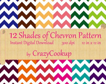 12 Shades of Chevron Pattern (Digital Download) 300 dpi 12inx12i