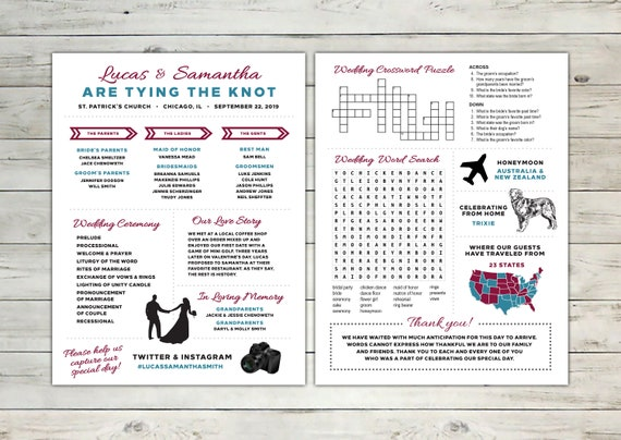 Unique Infographic Wedding Program With Crossword Puzzle And Etsy