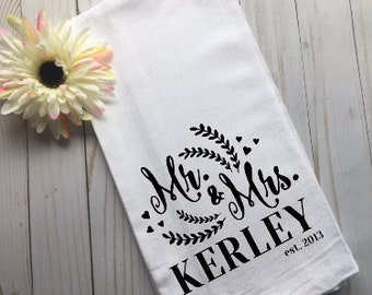 Personalized Wedding Gift, Personalized Kitchen Towel, Personalized Tea Towel