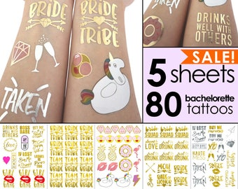 Bachelorette Party Tattoos | bachelorette tattoos, bridesmaid gift, bride tribe, gold tattoo, bachelorette party favors hen custom temporary