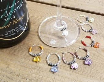 Elephant Wine Charms; set of 8 colorful wine charms with elephant dangles