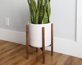 Large Mid Century Modern Planter With Plant Stand 12 Etsy