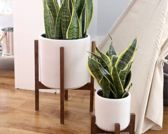 "Large Mid Century Modern Planter with solid Wood Plant Stand - 12"" Ceramic Set"