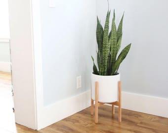 Large Midcentury Modern Ceramic Cylinder Planter Solid Etsy
