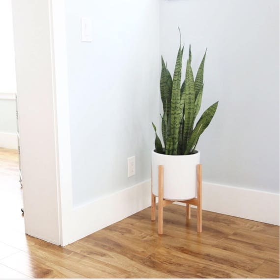 Medium Mid Century Modern Planter With Solid Wood Plant Stand Etsy
