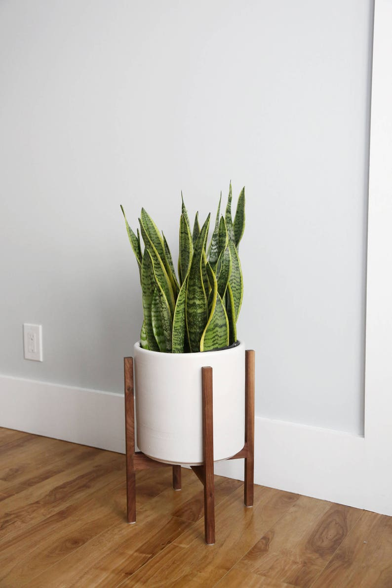 Medium Mid Century Modern Planter Plant Stand With 10 Etsy