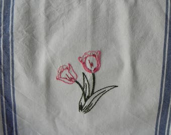 Hand Embroidered Kitchen Towel - Tulips