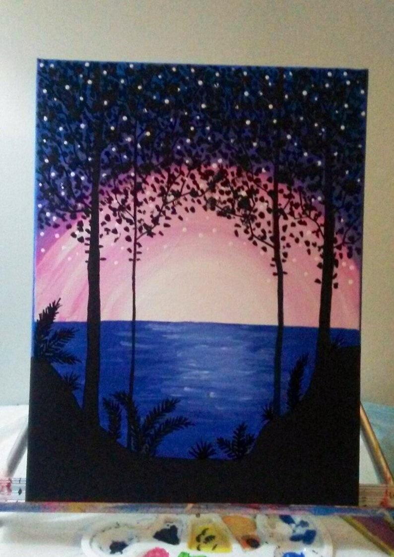 12 X 16 Sunset Acrylic Painting Acrylic Painting Etsy
