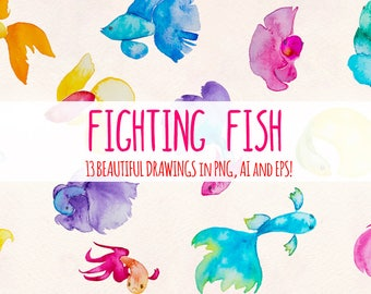 Rainbow Fighting Fish - 13 Beta Fish Elements - Watercolor Graphics Kit Bundle!